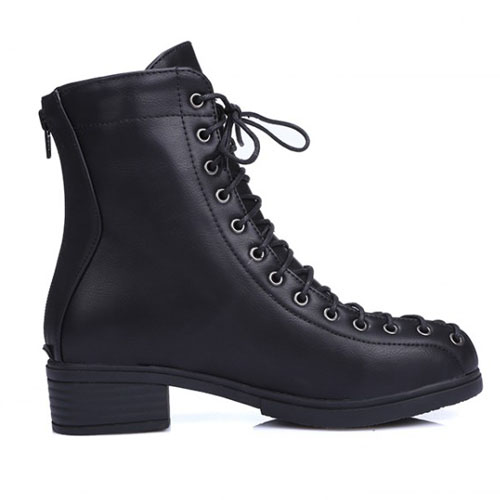 Spring Autumn Fashion Round Toe Lace-up Chunky Mid