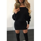 Trendy Bateau Neck Long Sleeves Black Cotton Mini