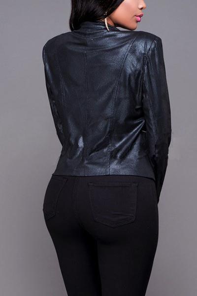 Trendy Turndown Collar Long Sleeves Zipper Design