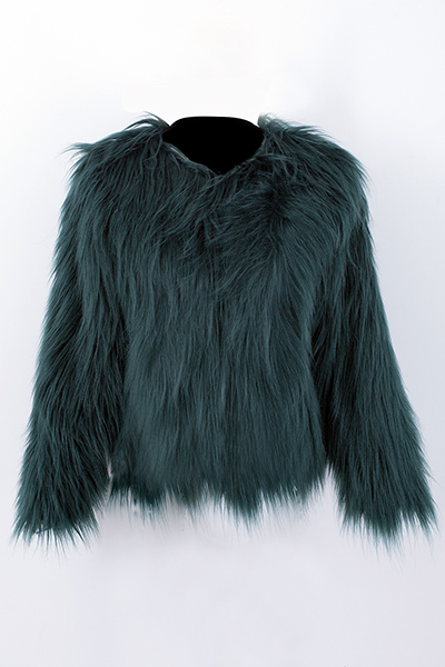 Trendy Round Neck Long Sleeves Fur Design Green Co