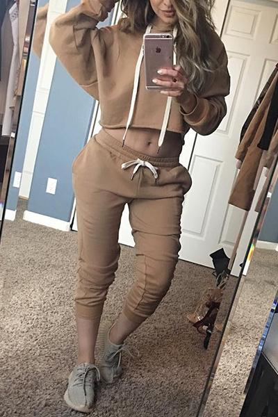 Leisure Hooded Collar Long Sleeves Drawstring Khak