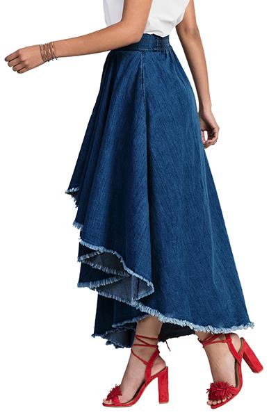 Stylish Elastic Waist Asymmetrical Blue Denim Ankl