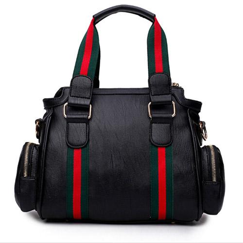 Fashion Patchwork Black PU Crossbody