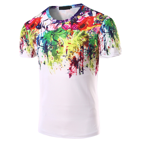 Casual Round Neck Short Sleeves Printed Cotton Ble