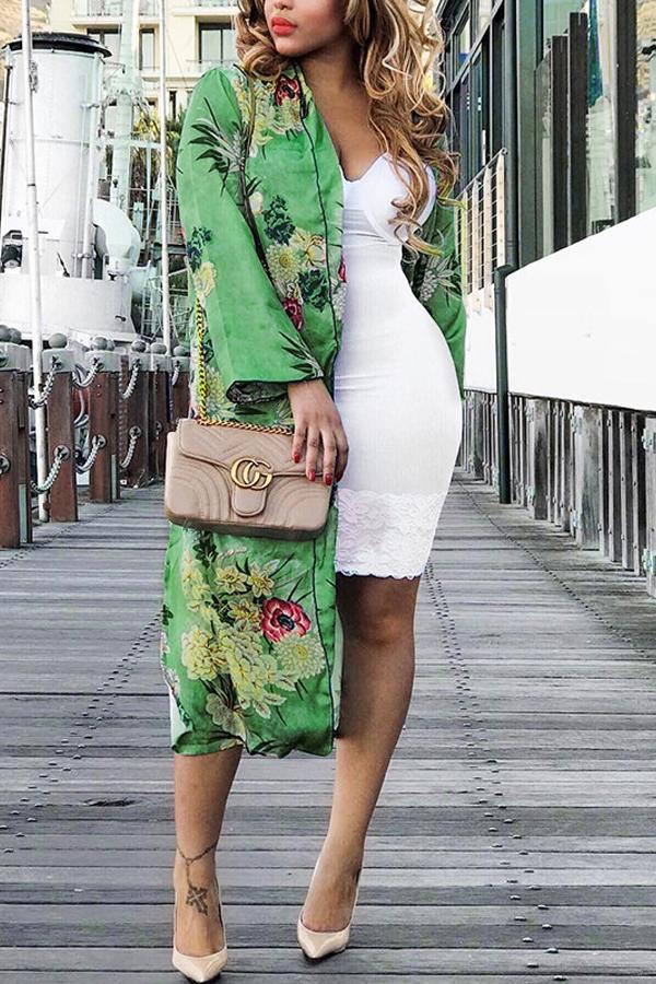 Euramerican Turndown Collar Long Sleeves Floral Pr