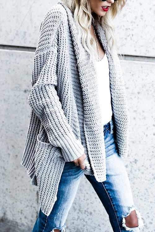 Trendy Long Sleeves Grey Acrylic Cardigans