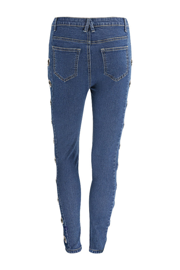 Fashion Mid Waist Eyelets Design Blue Denim Pants