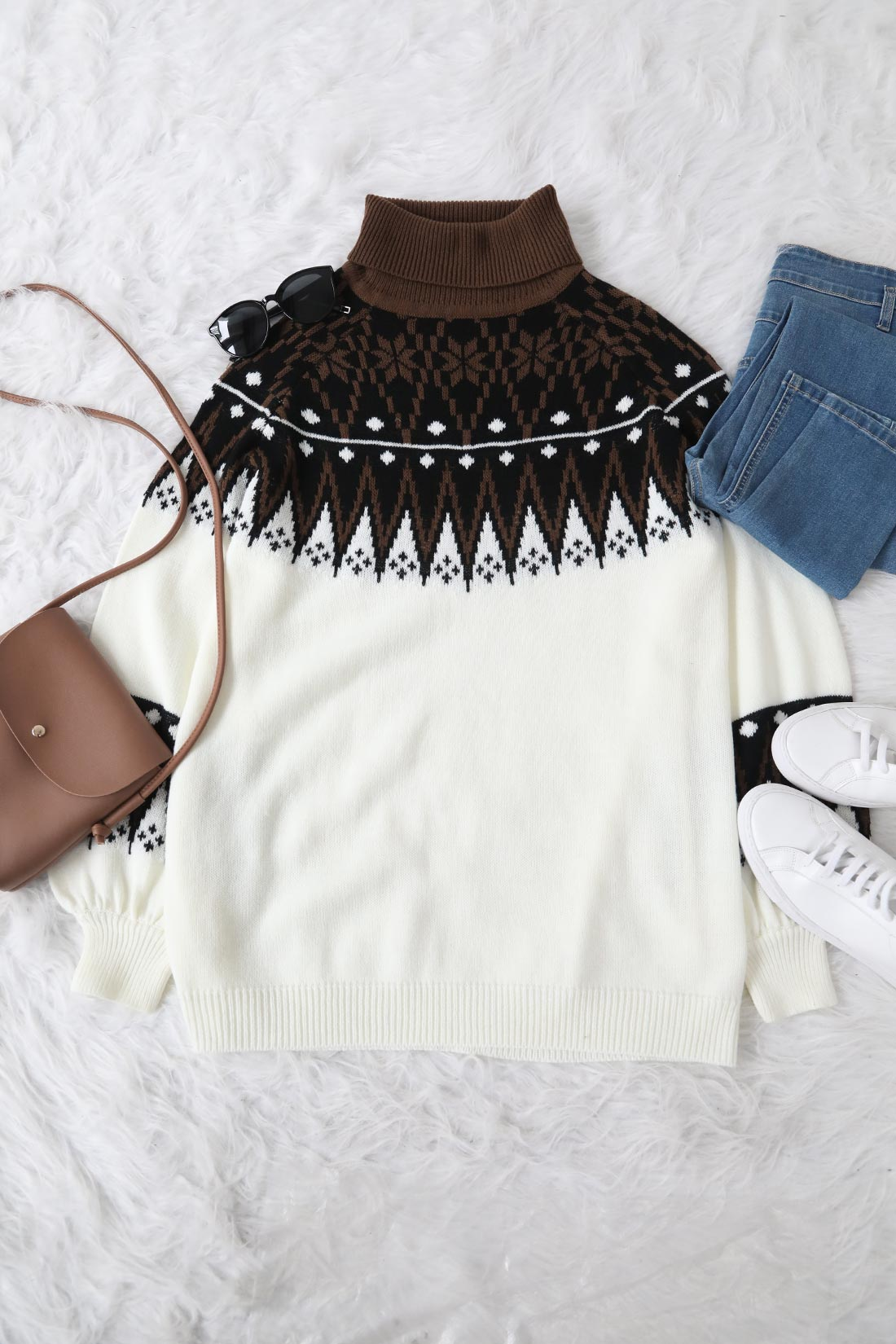 Lovely Geometry White Sweater Mini Dress