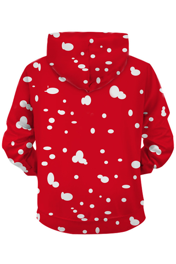 Lovely Christmas Day Printed Red Hoodie