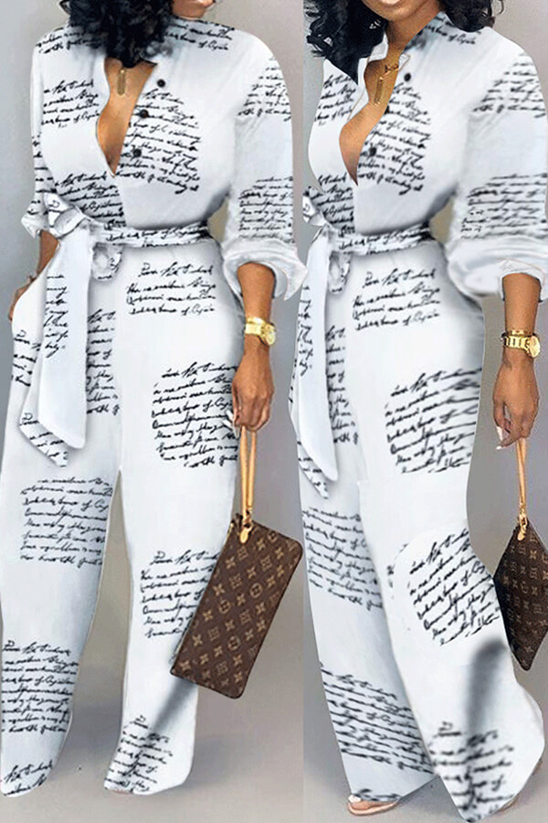 Lovely Casual Letter Printed White One-piece Jumps