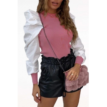 Lovely Casual Patchwork Pink Blouse