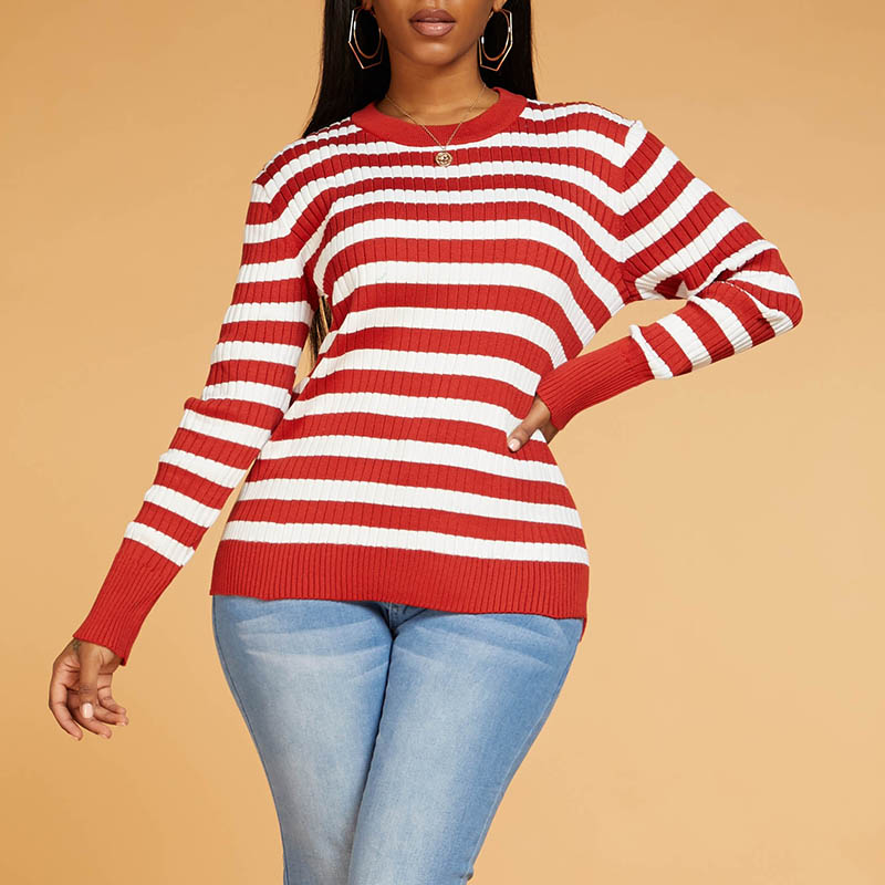 Lovely Casual Striped Red Sweater