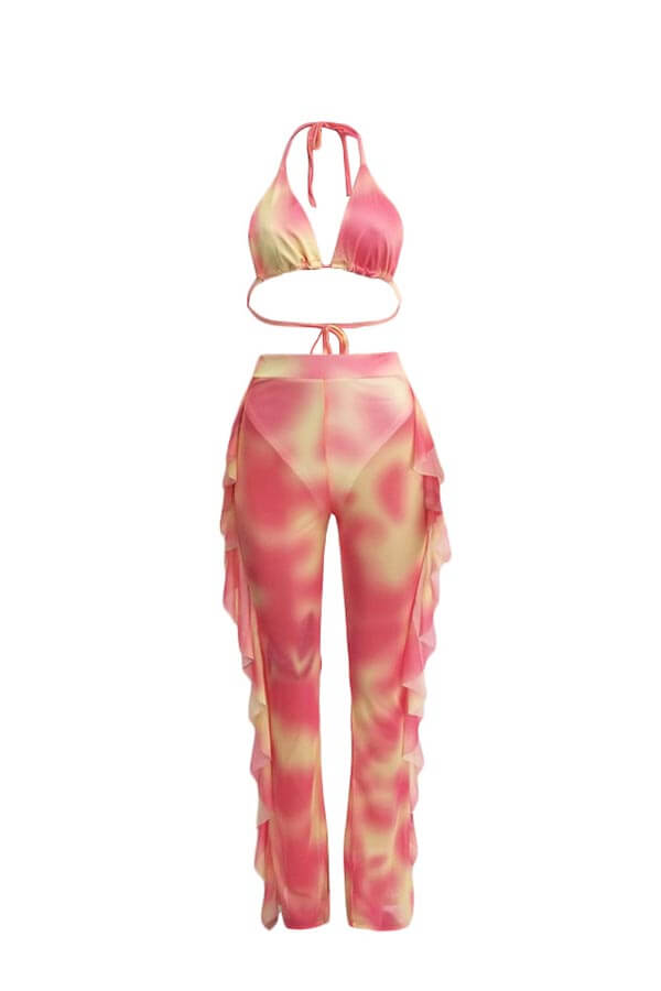 Lovely Printed Ruffle Design Pink Two-piece Swimwe