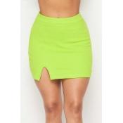 Lovely Street Solid Green Mini Skirt