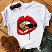 Lovely Leisure Lip Print Red T-shirt