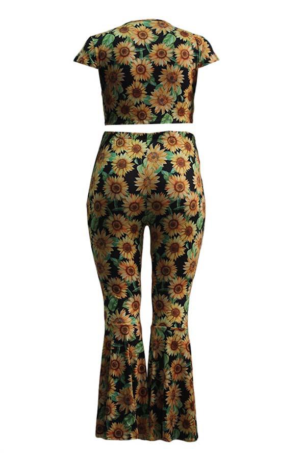 Lovely Trendy Sunflower Print Multicolor Plus Size
