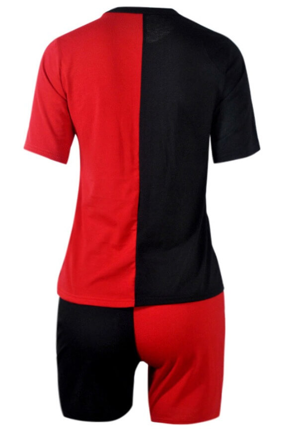 Lovely Sportswear Print Patchwork Black Plus Size