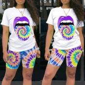 Lovely Leisure Lip Print Purple Two-piece Shorts Set