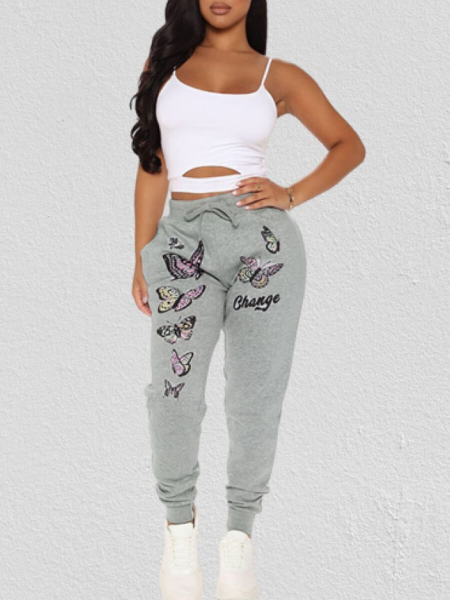Lovely Casual Butterfly Print Grey Pants