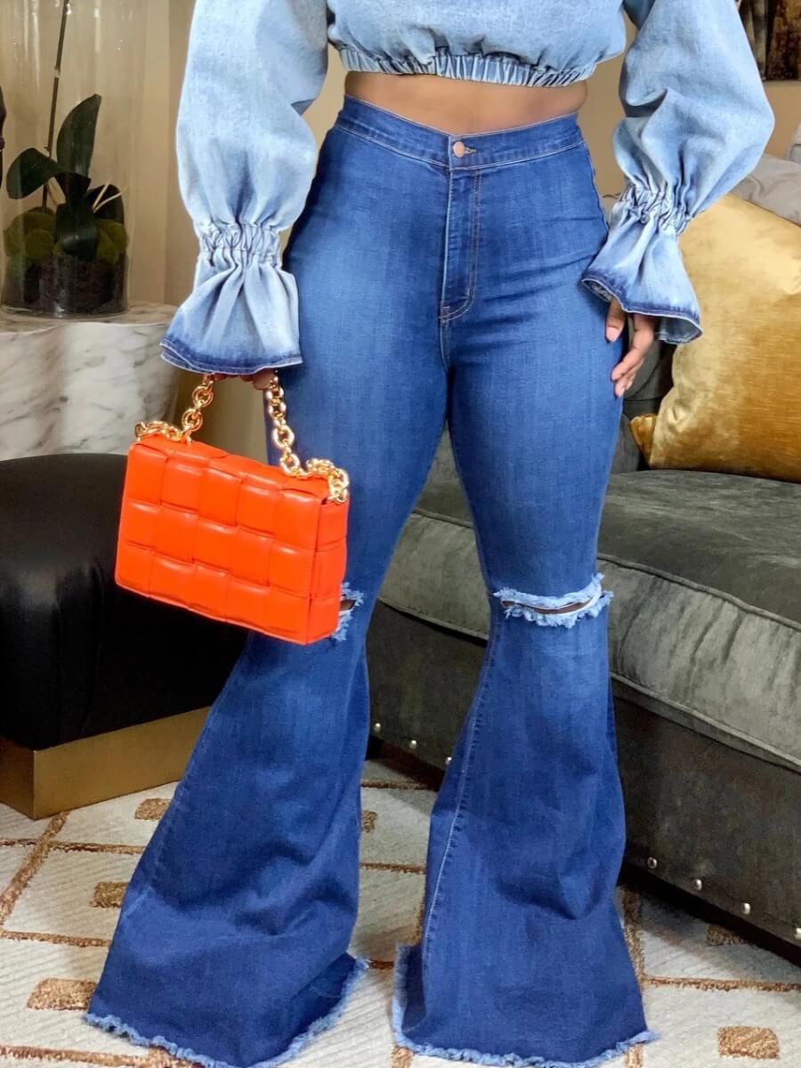 Lovely Stylish Broken Holes Blue Jeans