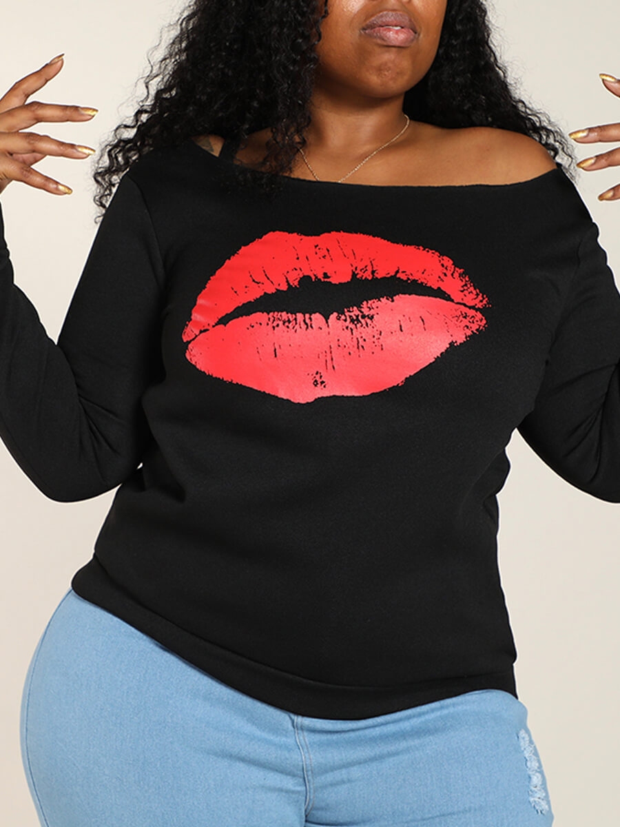 Lovely Plus Size Casual Lip Print Red Hoodie