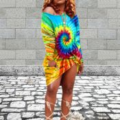 Lovely Street O Neck Tie-dye Blue Knee Length Dress