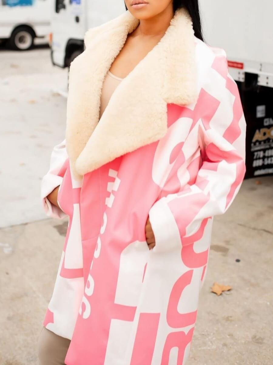 Lovely Stylish Turndown Collar Print Pink Long Plu
