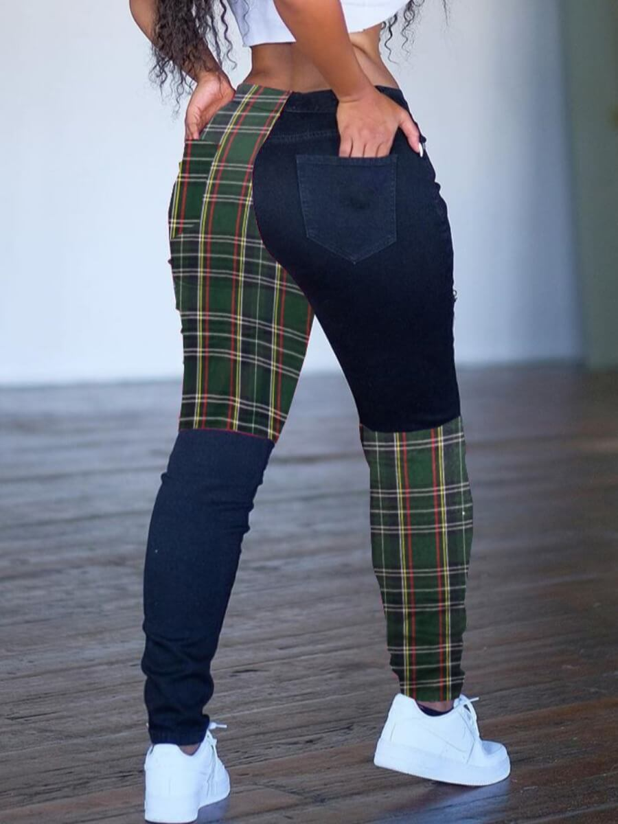 Lovely Trendy Grid Print Patchwork Army Green Pant