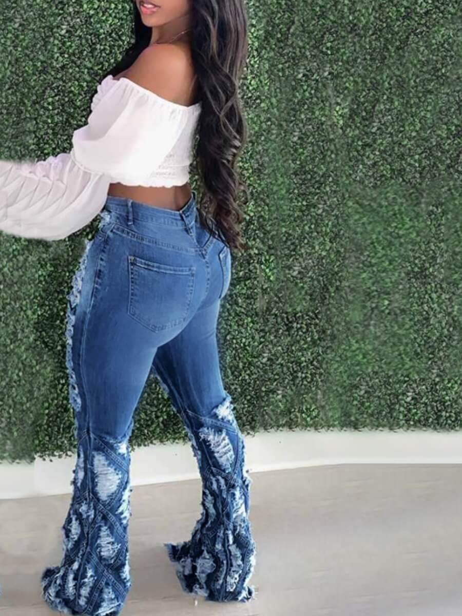 Lovely Street Broken Holes Patchwork Blue Jeans