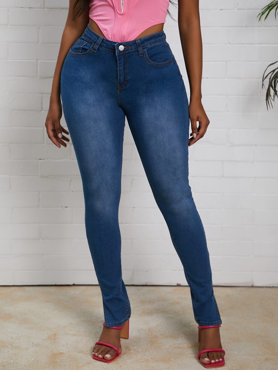 Lovely Casual Side Slit Skinny Deep Blue Jeans