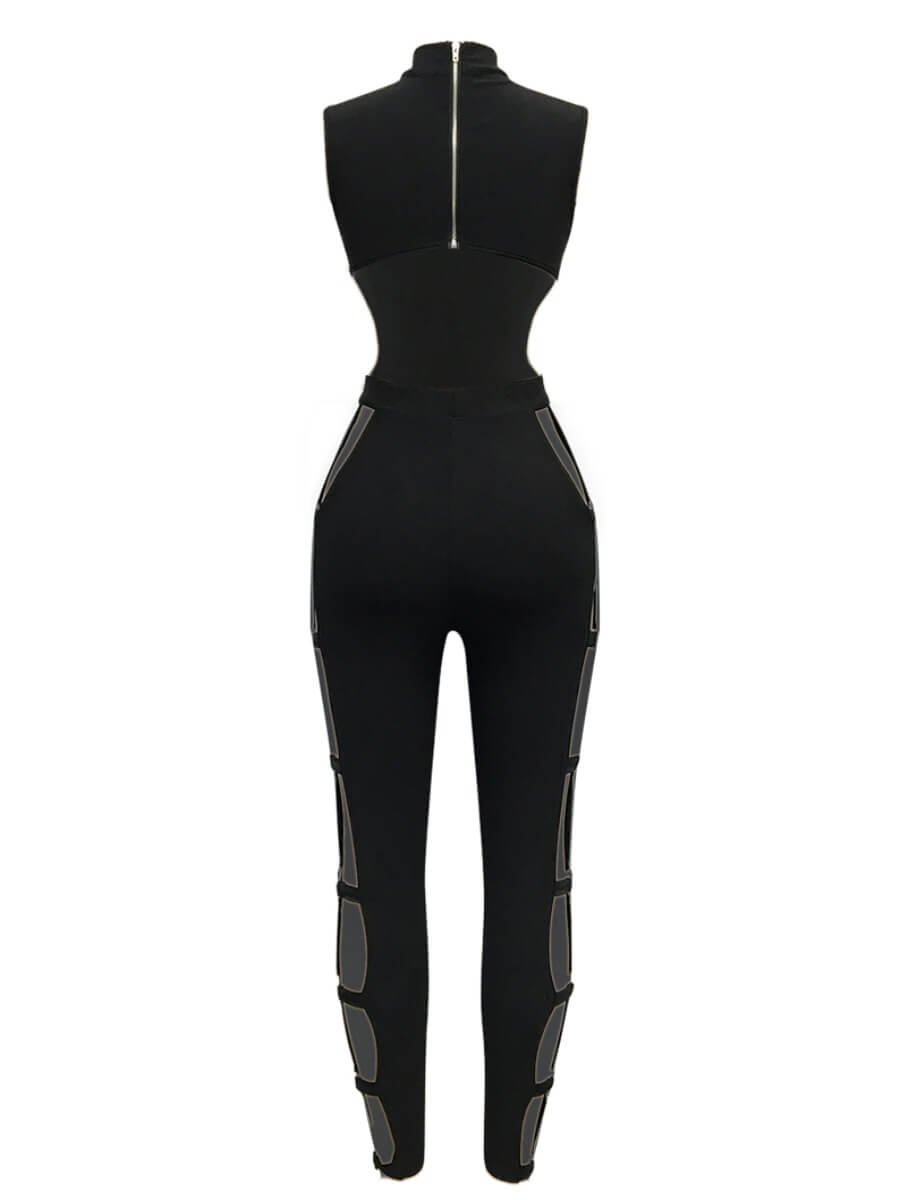 Lovely Sexy Hollow-out Skinny Black One-piece Jump
