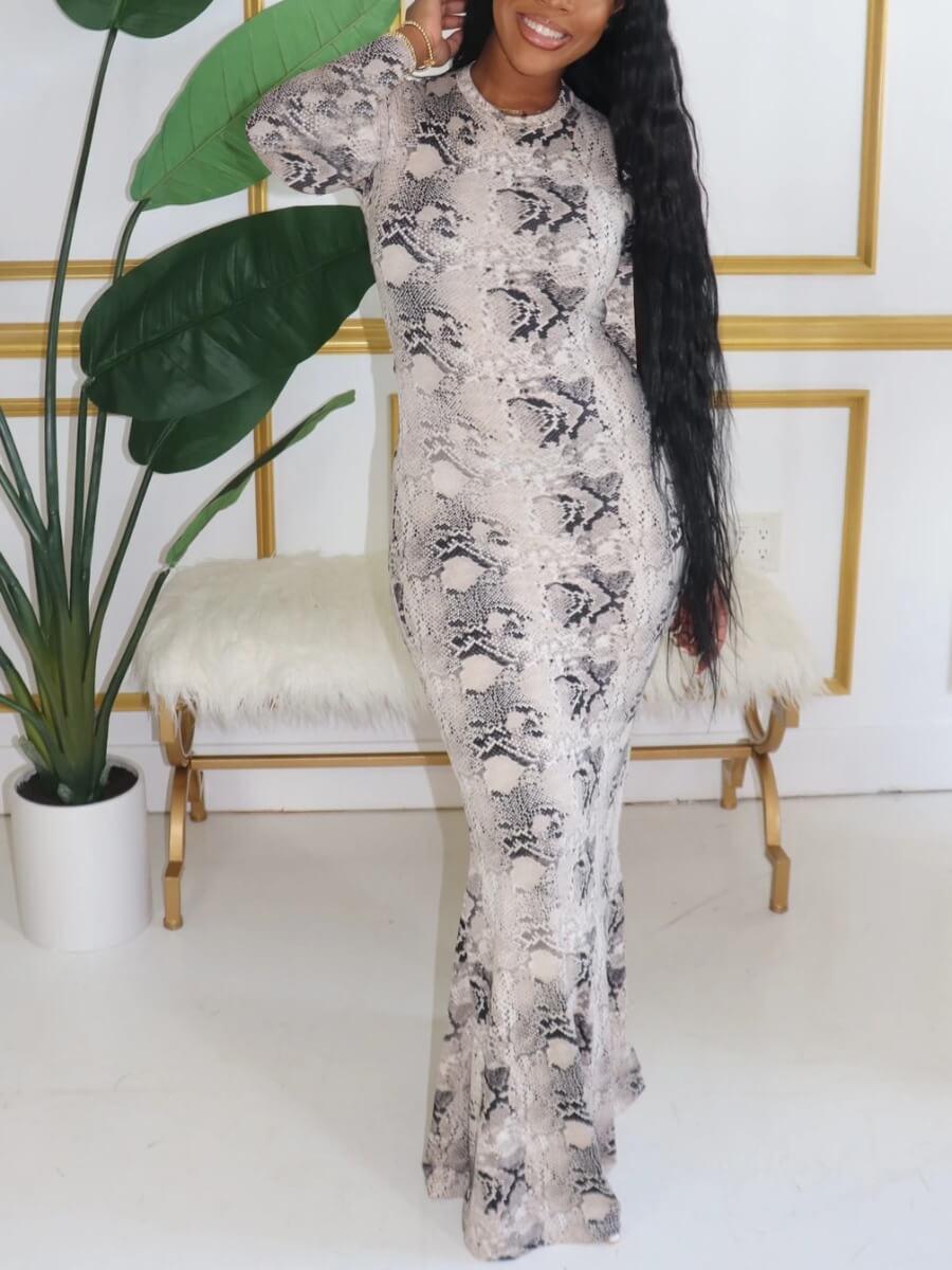 Lovely Casual O Neck Print White Maxi Dress