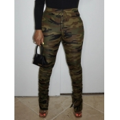 Lovely Street Camo Print Army Green Pants