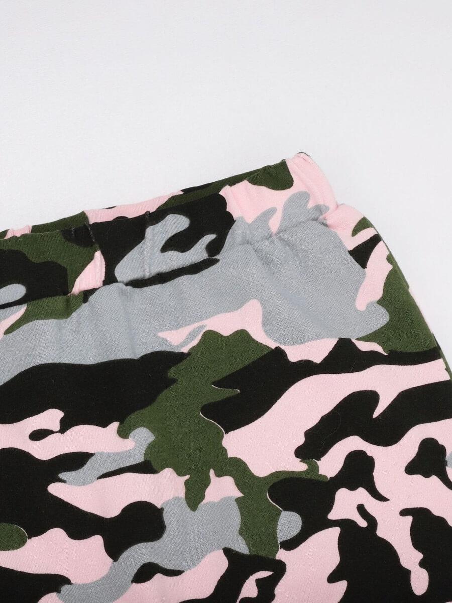 Lovely Girl Trendy Turndown Collar Camo Print Tren