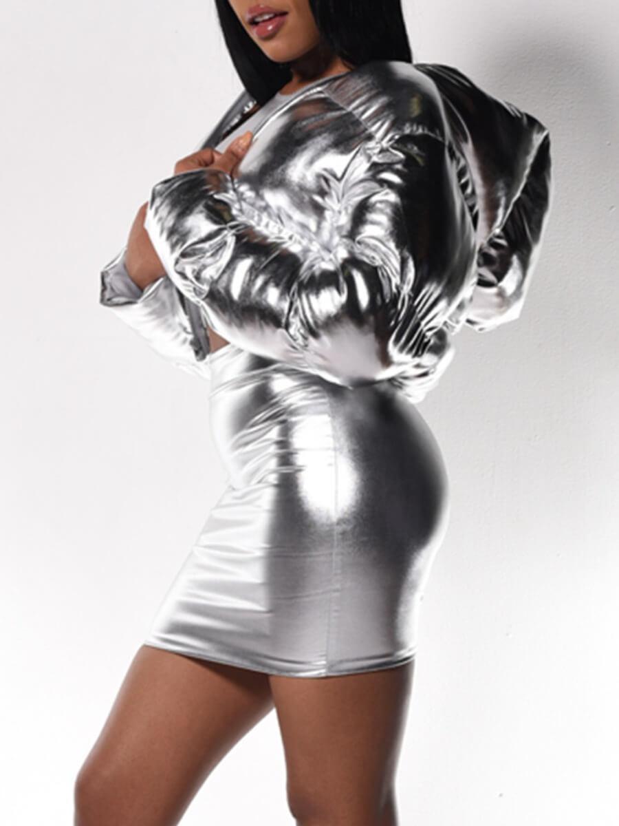 Lovely Trendy Hooded Collar Zipper Design Silver P