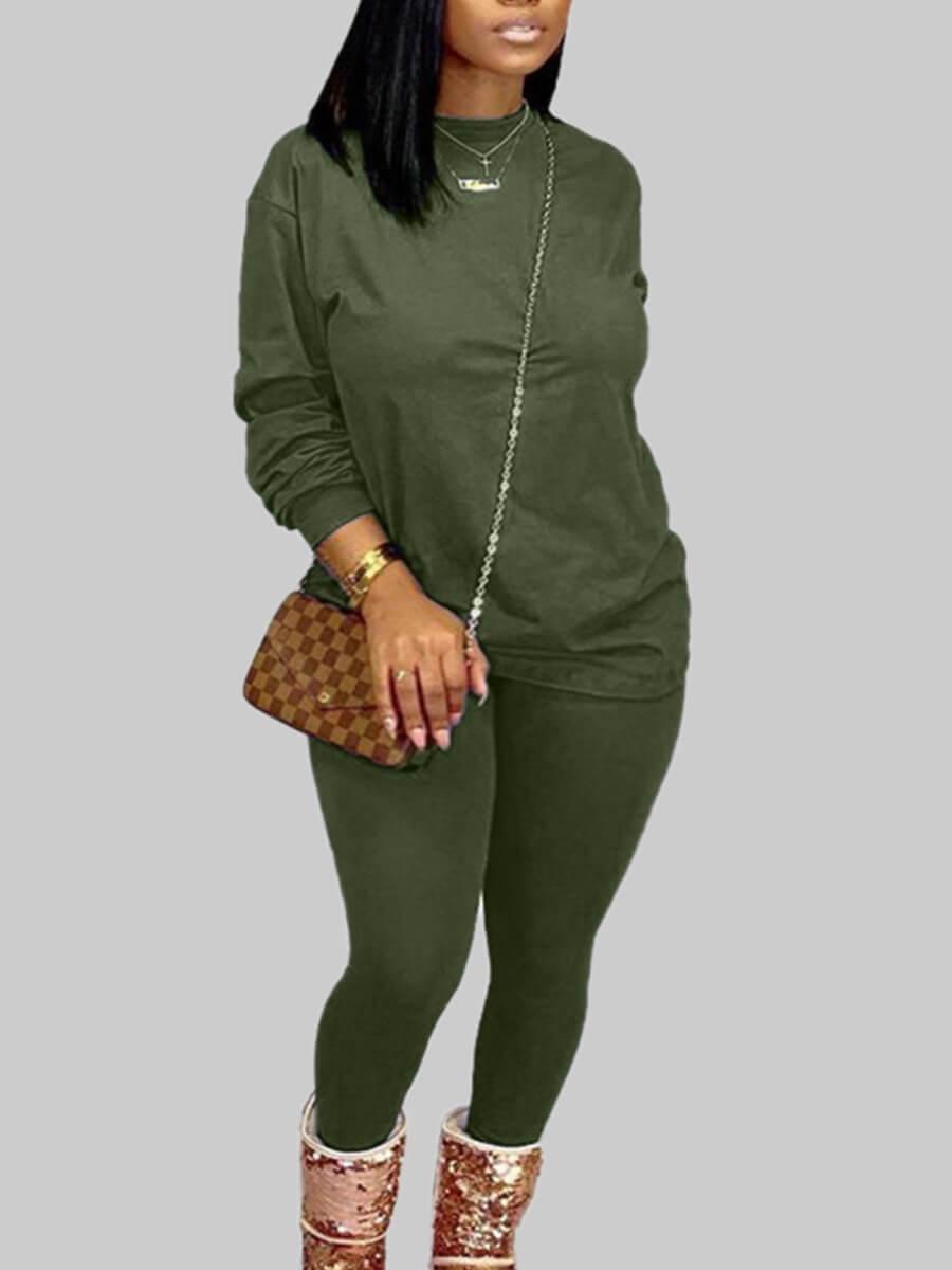 Lovely Casual O Neck Basic Blackish Green Plus Siz