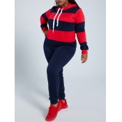 Lovely Sportswear Hooded Collar Striped Dark Blue