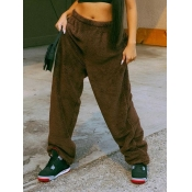 Lovely Casual Basic Loose Brown Pants