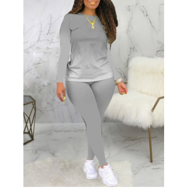 Lovely Casual O Neck Gradient Print Grey Plus Size