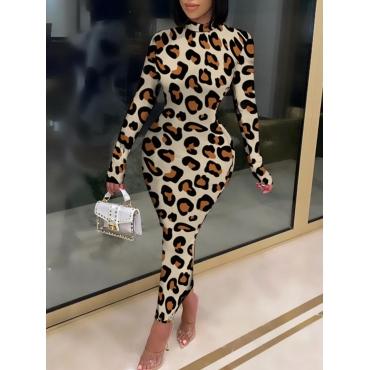 Lovely Casual Turtleneck Skinny Leopard Print Ankl