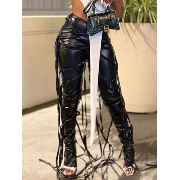 Lovely Stylish Lace-up Black Pants