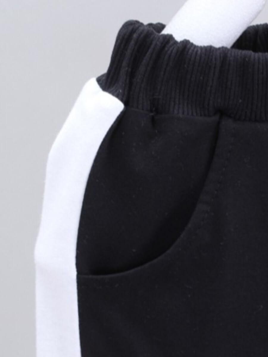 Lovely Sportswear Striped Patchwork Zipper Design
