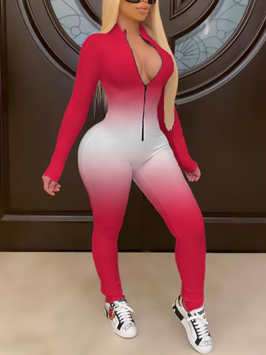 Lovely Casual Gradient Zipper Design Red One-piece