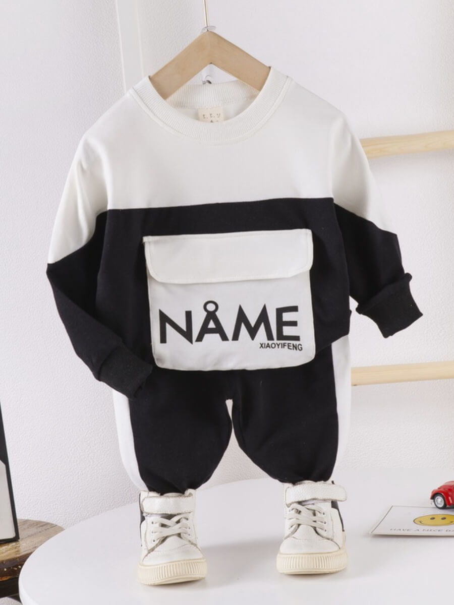 Lovely Casual O Neck Print Patchwork Black Boy Two