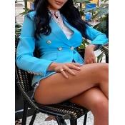 Lovely Formal Button Pocket Design Blue Blazer