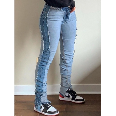 Lovely Street Patchwork Skinny Blue Jeans