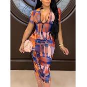 Lovely Casual Mesh Print Patchwork Orange Mid Calf Dress
