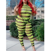 Lovely Casual Letter Print Striped Light Green Plus Size Two-piece Pants Set