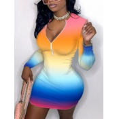 Lovely Sweet Gradient Zipper Design Multicolor Mini Dress