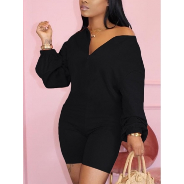 Lovely Casual V Neck Dropped Shoulder Black One-pi